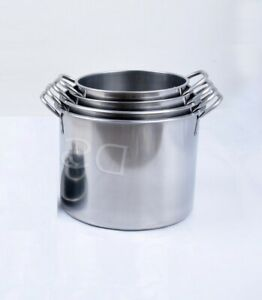 Stainless Steel Stock Pot Pan Boiling Stew Soup Cooking Casserole Without Lid