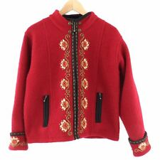 Icelandic Designs Red Wool Sweater Jacket Size M