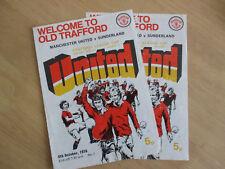 Football Programmes. 6th Oct 1976 Man Utd v Sunderland Football League Cup.