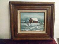 """EVERETT WOODSON Oil Painting on Canvas BARN SCENE Framed 17.5"""" x 15.5"""""""
