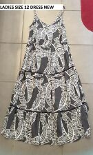 LADIES SIZE 12 LONG FLOWY BLACK/WHITE MAXI DRESS BRAND NEW