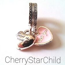 silver pl European charm travel the world with you pink enamel 2 heart charms