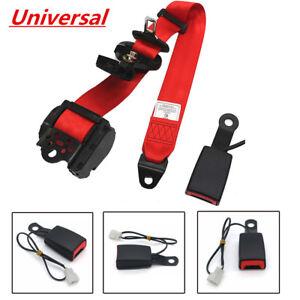 Universal Adjustable Retractable 3 Point Car Seat Belt Lap Diagonal Belt Red