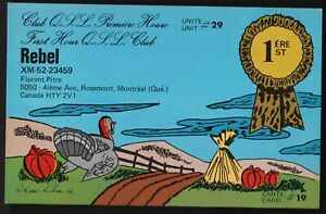 "QSL QSO RADIO CARD ""Rebel"" Montreal, Quebec Canada (Q52)"