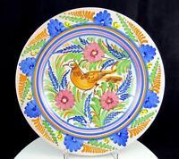 "MAJOLICA ART POTTERY BM SIGNED DERUTA STYLE BIRD & FLORAL 10 5/8"" HANGING BOWL"