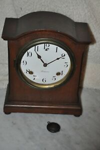 Antique Sessions Beehive Mantle Clock, Mahogany Inlay, 8 Day Cathedral Gong Bell