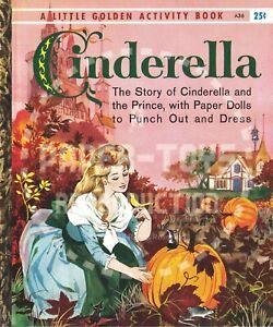 VINTAGE REPRINT - 1960 - CINDERELLA LITTLE GOLDEN ACTIVITY BOOK PAPER DOLLS