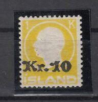 BB5648/ ICELAND – MI # 111 MINT MH CERTIFICATE SIGNED BRUN - CV 945 $