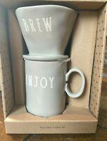 RAE DUNN COFFEE SET POUR OVER AND DRIP BREW AND ENJOY GRAY NIB GREAT GIFT MUG