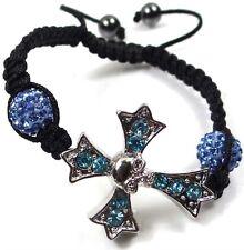Shambhala Bracelet Cross Skull with Aqua Rhinestone Sapphire Pave Beads