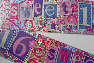 9ft Holographic Girls Sweet 16 Happy 16th Birthday Party Banner Decorations E