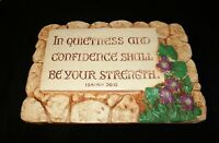 Vintage Religious Wall Plaque purple Clematis In Quietness and confidence