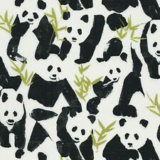 Fabric Pandas & Bamboo on White Timeless Cotton by the 1/4 yard