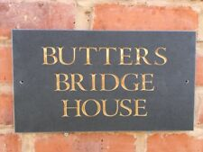 """LARGE QUALITY Riven Surface Slate House signs Approx 14"""" x 8"""""""