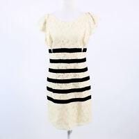 Ivory lace black striped BCBG MAX AZRIA cap sleeve shift dress S