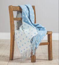 Foxford Irish Made Lambswool Blue Spot Blanket 3529/B2