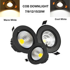 LED Downlight COB Spotlight Recessed Ceiling Light Lamp 7W/9W/12W/15W/18W Black