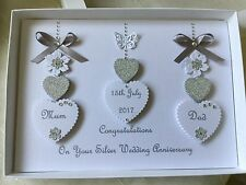 Handmade Personalised Boxed Silver Wedding Card Engagement Anniversary 25th 60th