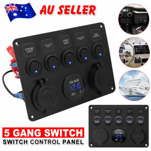 5 Gang 12V Switch Panel LED Rocker 2 USB ON-OFF Toggle For RV Boat Truck Caravan