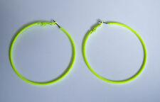 Big Neon Yellow Thin Hoop Earrings