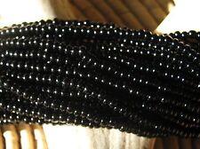 Czech Glass Seed Beads Size 11/0 Opaque BLACK - One Full Hank (23980)
