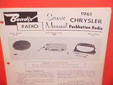 1961 CHRYSLER NEWPORT 300G CONVERTIBLE BENDIX AM RADIO SERVICE MANUAL BROCHURE 1