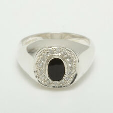 9ct White Gold Natural Onyx & Cubic Zirconia Mens Signet Ring - Sizes N to Z