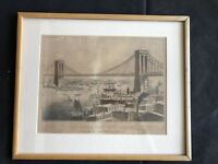 Antique Currier & Ives The Great East River Bridge, Hand Colored Lithograph 1872