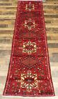 """2'7""""x10'5"""" Authentic Handmade wool Herizz Karajeh Oriental vintage rug runner"""