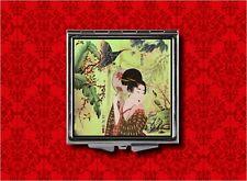 GEISHA GIRL JAPANESE FAN VINTAGE BUTTERFLY MAKEUP POCKET COMPACT MIRROR