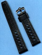 OMEGA BUCKLE & 20mm GENUINE LEATHER RALLY BLACK RACING STRAP BAND BLACK STITCH