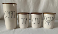"RAE DUNN Ceramic ""COFFEE, TEA, NUTS & CHOCOLATE CHIPS""  Cellar Canisters-NEW"