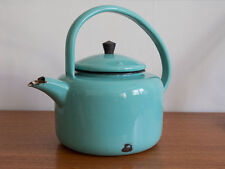 Large Vintage Enamel Kettle or Tea Pot in Stunning Turquoise Teal Blue Finish
