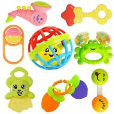 Colorful Attractive Plastic Non Toxic Set of 7 Shake & Grab Rattle & 1 Soothing