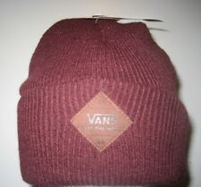 Vans Grove All Weather MTE Cuff Beanie Maroon Brown Logo Patch NWT Free Ship