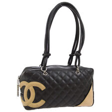 CHANEL Quilted Cambon Line CC Shoulder Bag Brown Beige Leather 9347040 AK42991