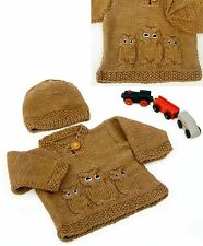 (795) Baby Aran Knitting Pattern Owl Sweater and Hat, 14-20''