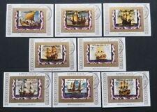 "AJMAN: ""Hist. Segelschiffe"" 8x Blocks im Kleinformat, aus 1973, gestempelt"