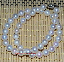 """Top quality 17""""9-10mm round REAL natural south sea WHITE pearl necklace 14k gold"""