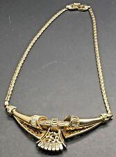 Corocraft Regency Necklace Choker Crystal Clear Baguette Rhinestones Gold Tone