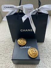 Authentic vintage Chanel clip-on earrings, gold-toned with signature quilting