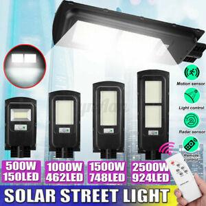 500W-2500W LED Solar Powered Wall Street Light PIR Motion Outdoor Garden Lamp