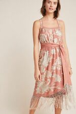 Anthropologie Lucille Dress Embroidery Fringe Pink Size 8