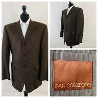 Marks & Spencer Collezione Mens Jacket Blazer Chest 42 Brown 100% Linen  GR504