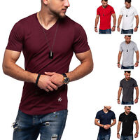 Jack & Jones Herren V-Neck T-Shirt INFINITY Oversize Longshirt Casual Basic TOP