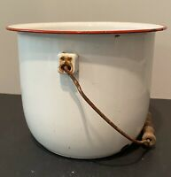 Antique Enamelware White with Red Trim Pot