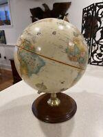 Vintage Replogle World Classic 12 inch Globe Hard Wood Base Made in USA Raised
