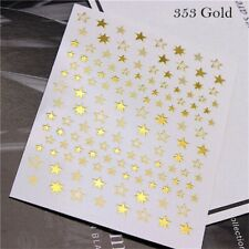 1pcs Lovely Stars Geometry 3D Nails Art Sticker gold/silver/rose gold Ornaments