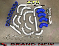 "NEW 2.5"" 64mm Aluminum Universal Intercooler Turbo Piping pipe + Blue hose kits"