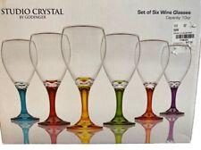 Studio Silversmiths Multi Color Set 6 Wine Glasses